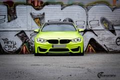 BMW M4 foliert med  Atomic Lime fra PWF-19