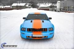 Ford Mustang -Helfoliert med -Baby Blue- -Striper dekor -Solfilm--7