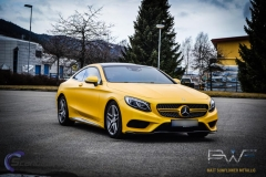 Mercedes S coupe foliert i matt sunflower metallic pwf