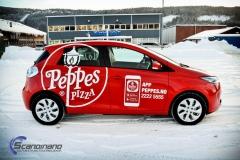 Renault Zoe Helfoliert i rød med Peppes Pizza dekor (1 of 9)