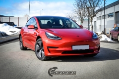 Tesla Model 3 helfoliert med Dragon Fire Red fra 3M , Chrome delete-8