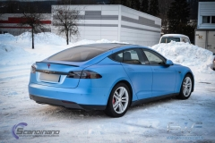 Tesla model s foliert i matt anodized blue pwf