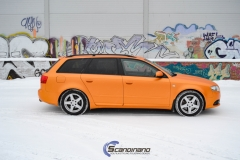Audi A 4 helfoliert med Matt Sunrise Metallic ,Solfil, Chrome delete