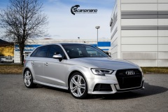 Audi A3 S-Line Helfoliert i Gloss White Aluminum fra 3M