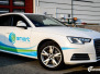 Audi A4 helfoliert med hvit 3M folie, Print dekor