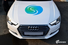 Audi A4 helfoliert med hvit 3M folie,Print dekor (12 из 12)
