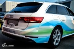 Audi A4 helfoliert med hvit 3M folie,Print dekor (8 из 12)