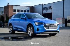 Audi e-tron helfoliert med Satin Perfect Blue fra 3M