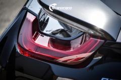 BMW i 8 foliert i Svart glossy Sport auto tilhenger-15