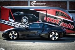 BMW i 8 foliert i Svart glossy Sport auto tilhenger-16