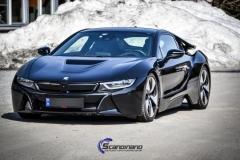 BMW i 8 foliert i Svart glossy Sport auto tilhenger-3