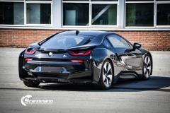 BMW i 8 foliert i Svart glossy Sport auto tilhenger-9