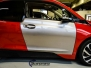 BMW I3 foliert med gloss fire red 3Msolfilm