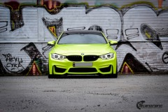 BMW M4 foliert med  Atomic Lime fra PWF