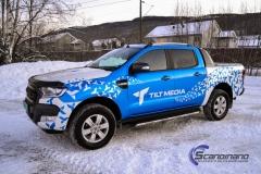 Ford Ranger designet og helfoliert i Gloss blue fire,Perl white med utskåret folie-7
