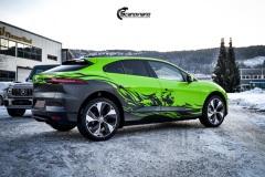 Jaguar I-Pace helfoliert i Gloss Light Green fra 3M, Black Diamond Black fra PWFack fra PWF