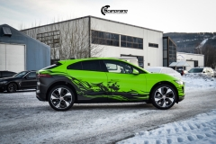 Jaguar I-Pace helfoliert i Gloss Light Green fra 3M , Black Diamond Black fra PWF (9 из 12)