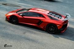 Lamborghini Aventador helfoliert med CC 4115 Rubby Red fra PWF-10