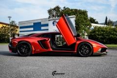 Lamborghini Aventador helfoliert med CC 4115 Rubby Red fra PWF-17