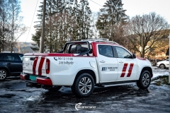 Mercedes Benz X Class delfoliert med 3M 1080 G363 Gloss Dragon Fire Red, dekor-3