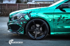 Mercedes CLA Shootingbrake AMG foliert i turkis gronn krom med custom made design (10 из 10)