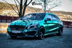 Mercedes CLA Shootingbrake AMG foliert i turkis gronn krom med custom made design (5 из 10)