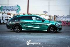 Mercedes CLA Shootingbrake AMG foliert i turkis gronn krom med custom made design (7 из 10)