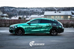 Mercedes CLA Shootingbrake AMG foliert i turkis gronn krom med custom made design (9 из 10)