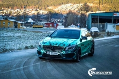 Mercedes CLA Shootingbrake AMG foliert i turkisgrønn krom med custom made design-10
