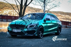 Mercedes CLA Shootingbrake AMG foliert i turkisgrønn krom med custom made design-11
