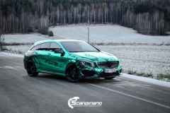 Mercedes CLA Shootingbrake AMG foliert i turkisgrønn krom med custom made design-5