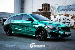 Mercedes CLA Shootingbrake AMG foliert i turkisgrønn krom med custom made design-6