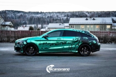 Mercedes CLA Shootingbrake AMG foliert i turkisgrønn krom med custom made design-7