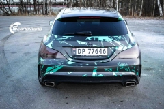 Mercedes CLA Shootingbrake AMG foliert i turkisgrønn krom med custom made design-9