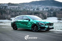 Mercedes CLA Shootingbrake AMG foliert i turkisgrønn krom med custom made design