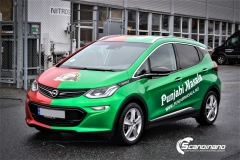 Opel Ampera foliert med 2 farger Gloss Green Envy Gloss Dragon Fire Red, dekor-2