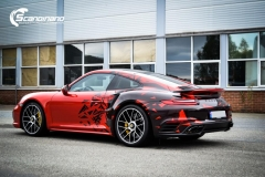 porsche 911 Turbo S helfoliert i Dragon Fire Red-2