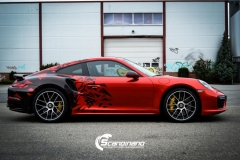 porsche 911 Turbo S helfoliert i Dragon Fire Red-41