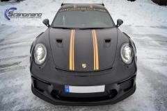 Porsche GT3 foliert med Black Gold, decor stripe-12