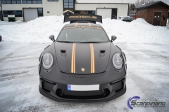 Porsche GT3 foliert med Black Gold, decor stripe-6