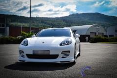 Porsche panamera foliert  i hvit deep satin-2