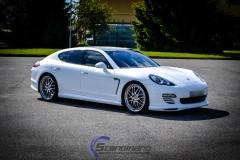 Porsche panamera foliert  i hvit deep satin