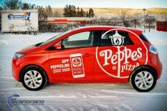 Renault Zoe Helfoliert i rød med Peppes Pizza dekor (2 of 9)