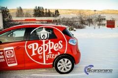 Renault Zoe Helfoliert i rød med Peppes Pizza dekor (5 of 9)