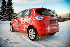 Renault Zoe Helfoliert i rød med Peppes Pizza dekor (9 of 9)