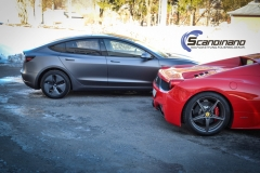 Tesla Model 3 foliert med Satin Dark Grey fra 3M_