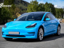 Tesla Model 3  Helfoliert i GLOSS LIGHT BLUE fra Avery, Solfilm,Chrome Delete