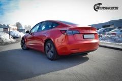 Tesla Model 3 helfoliert med Dragon Fire Red fra 3M , Chrome delete-10