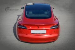 Tesla Model 3 helfoliert med Dragon Fire Red fra 3M , Chrome delete-12