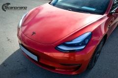 Tesla Model 3 helfoliert med Dragon Fire Red fra 3M , Chrome delete-14